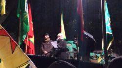 Vilja Schröder Slagbrand håller tal på World Kobane Day